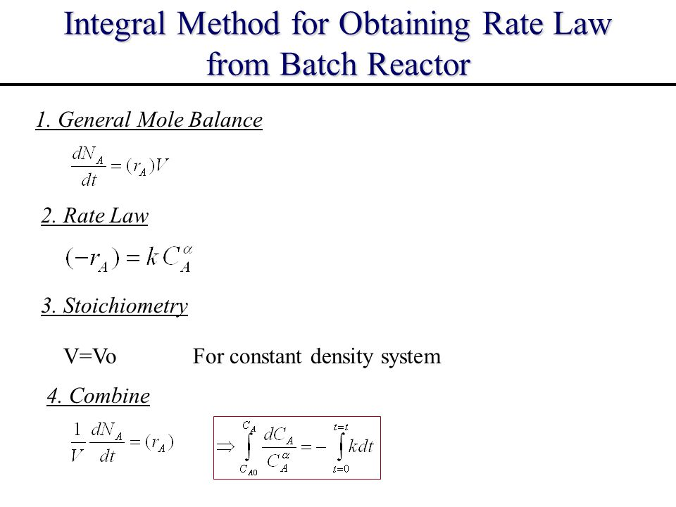 Integral Method for Obtaining Rate Law from Batch Reactor 1. General Mole Balance 3. Stoichiometry 2. Rate Law 4. Combine V=VoFor constant density sys