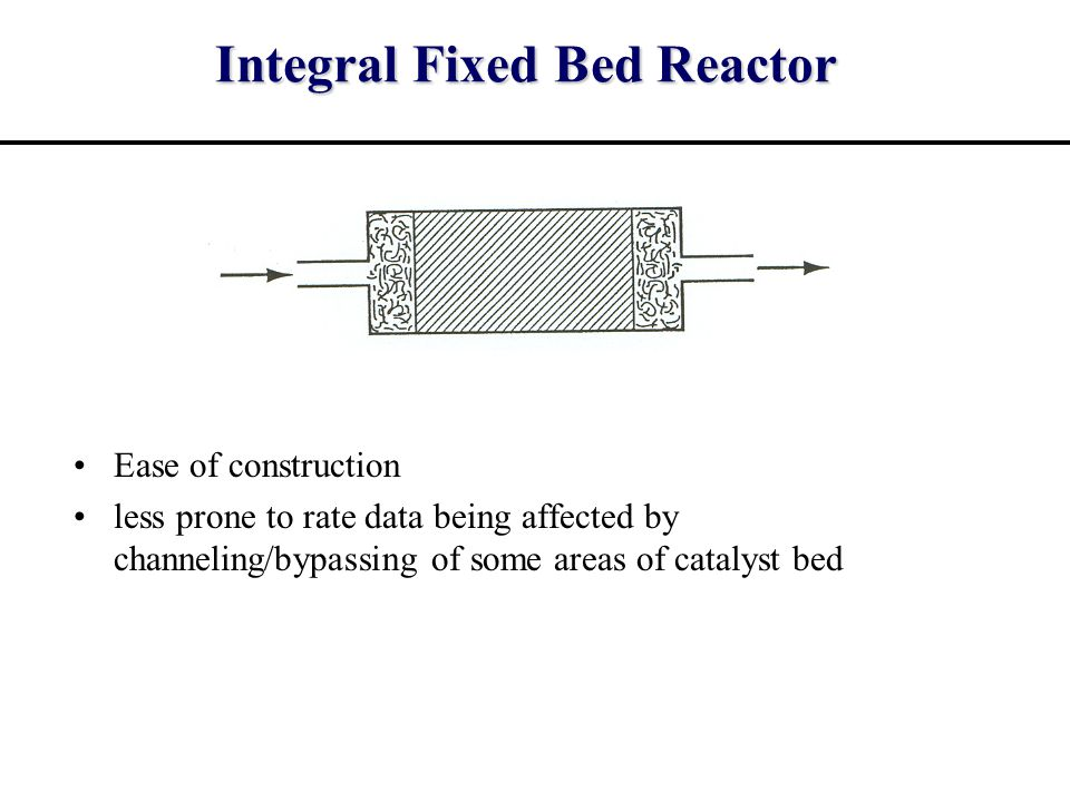 Integral Fixed Bed Reactor Ease of construction less prone to rate data being affected by channeling/bypassing of some areas of catalyst bed