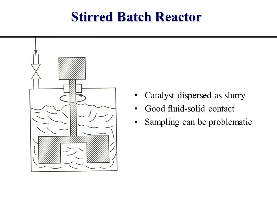 Stirred Batch Reactor Catalyst dispersed as slurry Good fluid-solid contact Sampling can be problematic