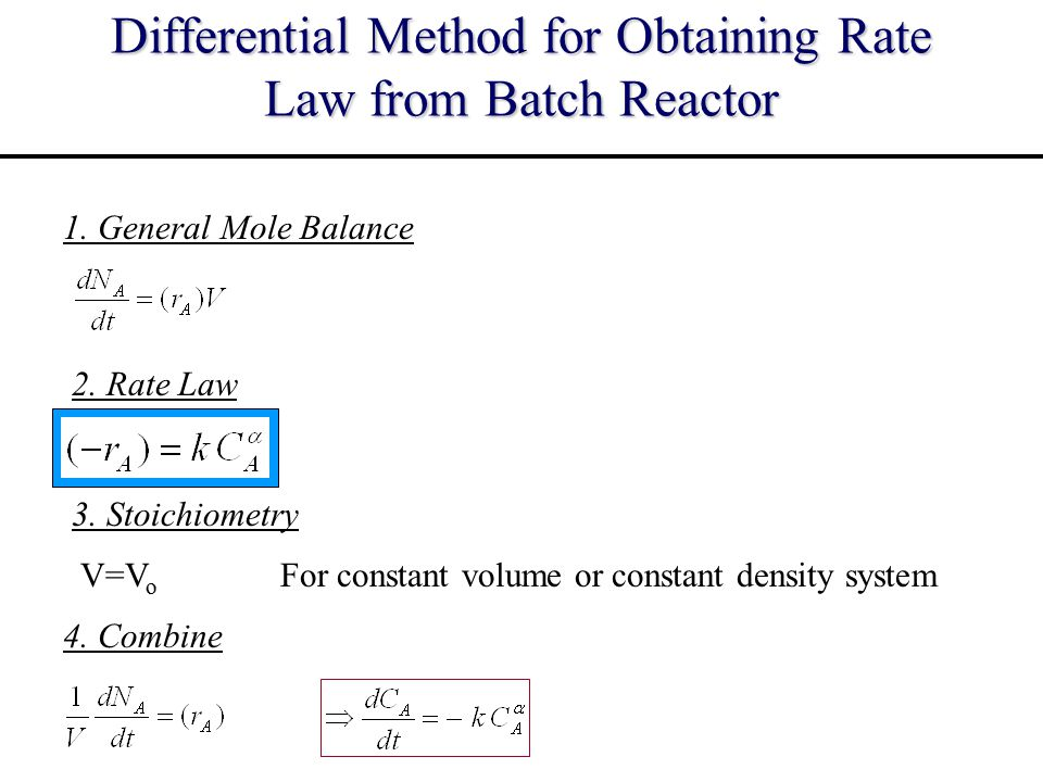Rate Law from Batch Reactor - Differential Method Reaction order (  ) can be found from slope of log-log plot of - dC A /dt and C A Taking the logarithm of combined equation dC A dt p CACA p