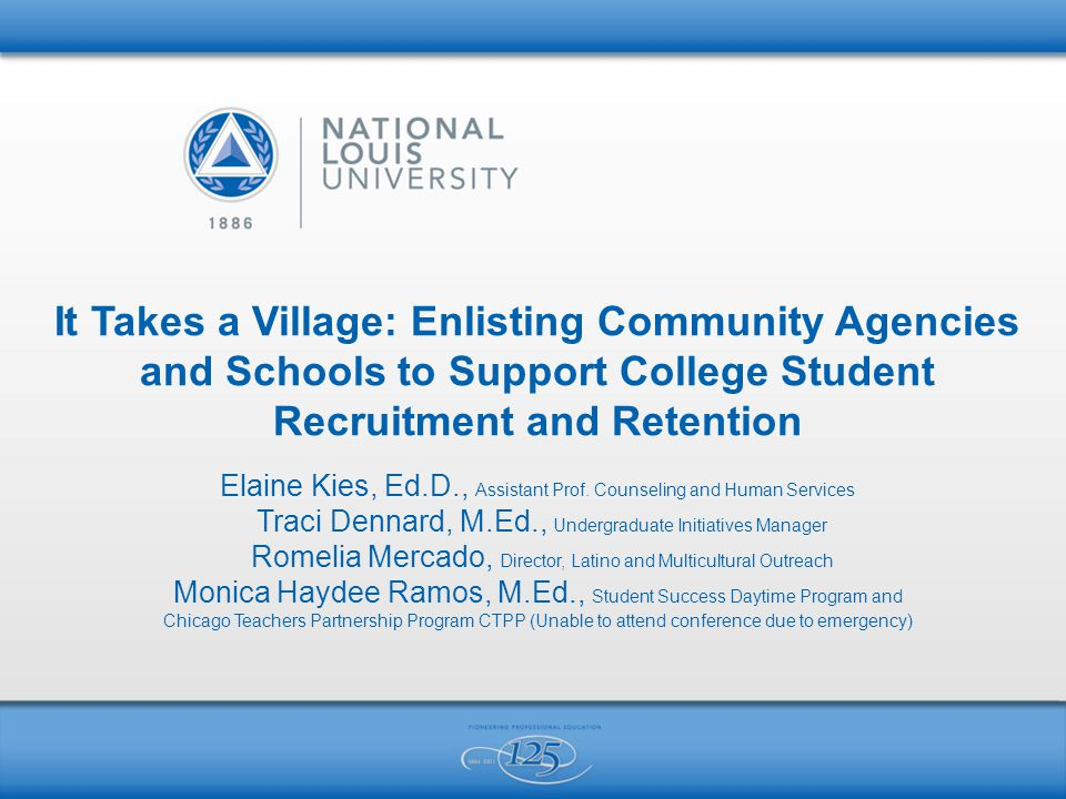 It Takes a Village: Enlisting Community Agencies and Schools to Support College Student Recruitment and Retention Elaine Kies, Ed.D., Assistant Prof.