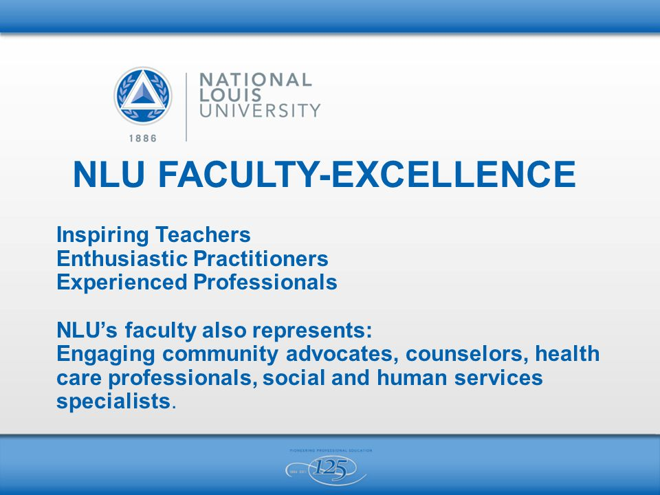 NLU FACULTY-EXCELLENCE Inspiring Teachers Enthusiastic Practitioners Experienced Professionals NLU's faculty also represents: Engaging community advocates, counselors, health care professionals, social and human services specialists.