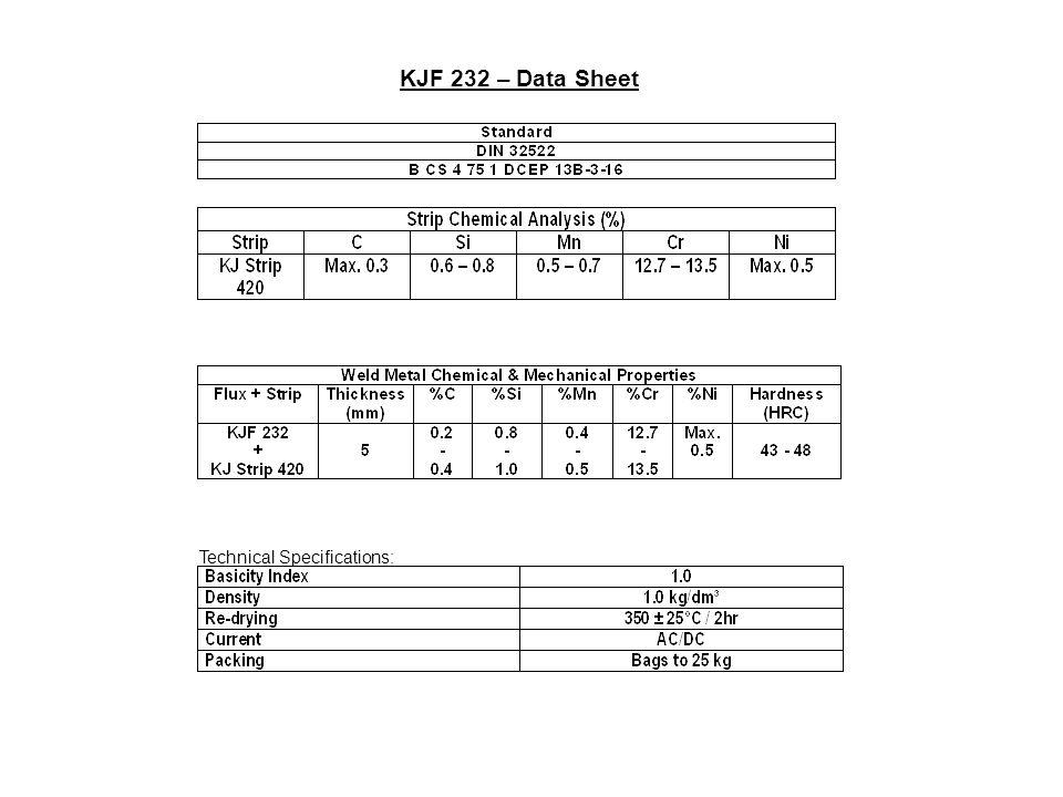 KJF 232 – Data Sheet Technical Specifications: