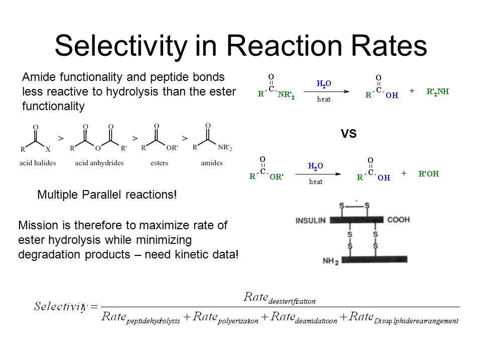 Selectivity in Reaction Rates Amide functionality and peptide bonds less reactive to hydrolysis than the ester functionality VS Mission is therefore to maximize rate of ester hydrolysis while minimizing degradation products – need kinetic data.
