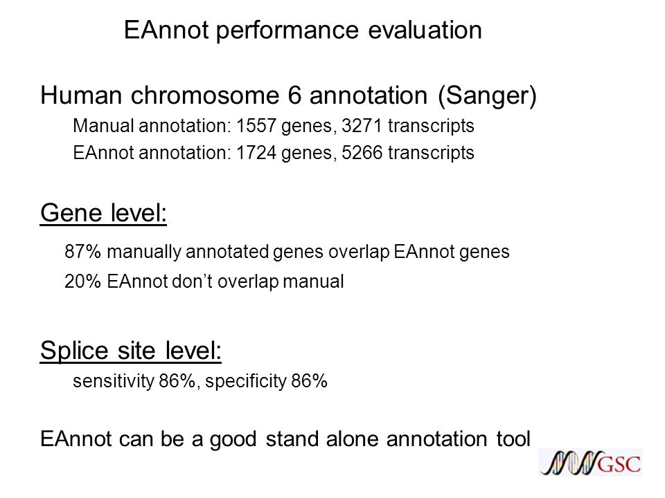 EAnnot performance evaluation Human chromosome 6 annotation (Sanger) Manual annotation: 1557 genes, 3271 transcripts EAnnot annotation: 1724 genes, 5266 transcripts Gene level: 87% manually annotated genes overlap EAnnot genes 20% EAnnot don't overlap manual Splice site level: sensitivity 86%, specificity 86% EAnnot can be a good stand alone annotation tool