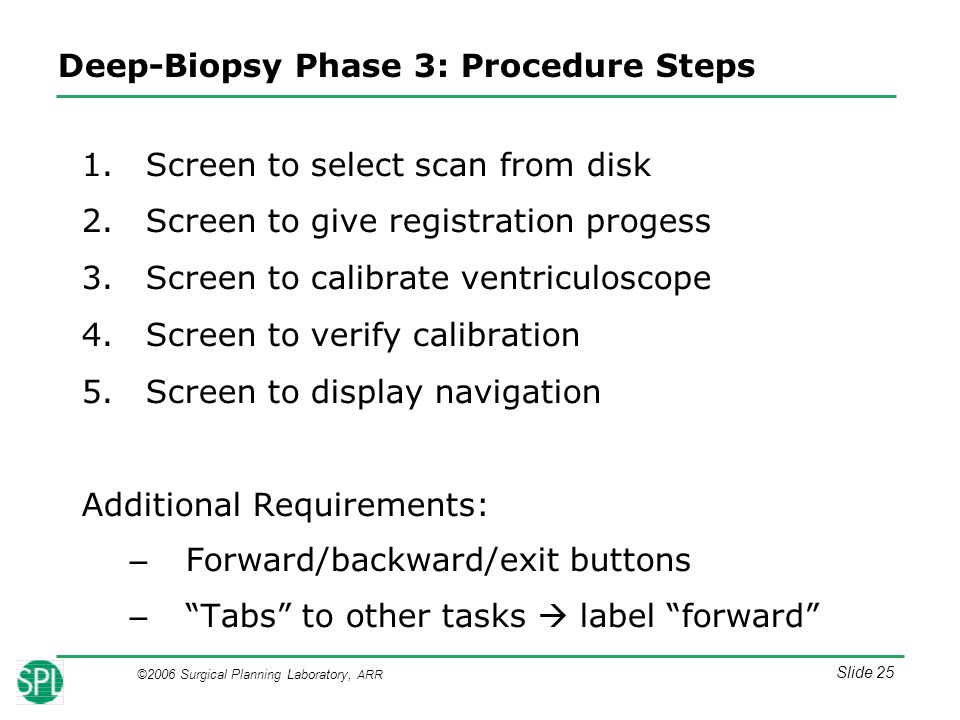 ©2006 Surgical Planning Laboratory, ARR Slide 25 Deep-Biopsy Phase 3: Procedure Steps 1.Screen to select scan from disk 2.Screen to give registration progess 3.Screen to calibrate ventriculoscope 4.Screen to verify calibration 5.Screen to display navigation Additional Requirements: – Forward/backward/exit buttons – Tabs to other tasks  label forward