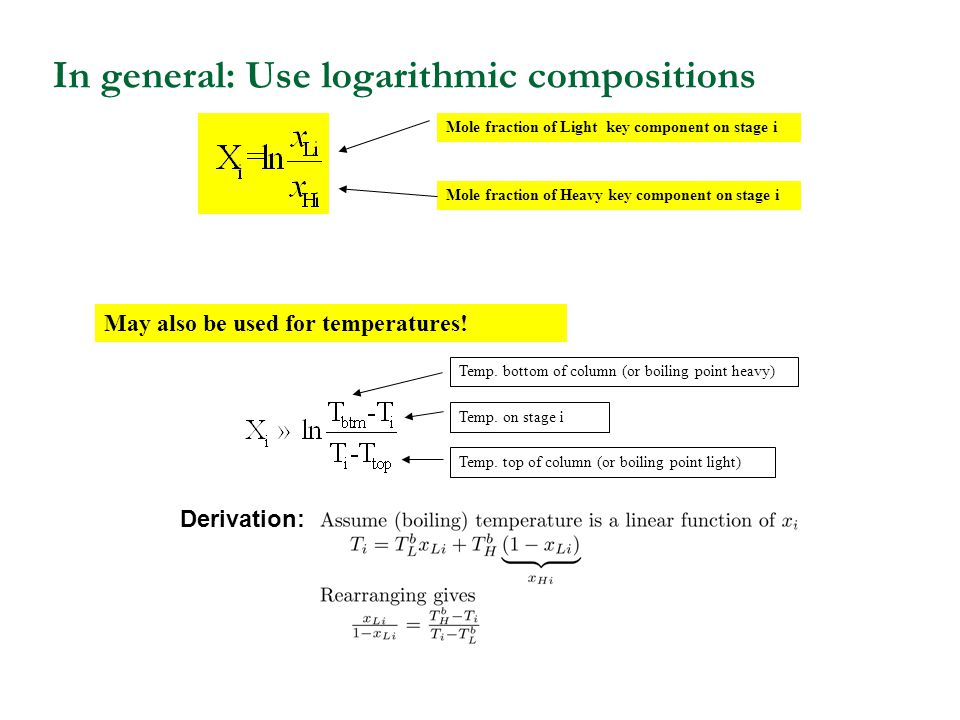 In general: Use logarithmic compositions Mole fraction of Light key component on stage i Mole fraction of Heavy key component on stage i May also be used for temperatures.