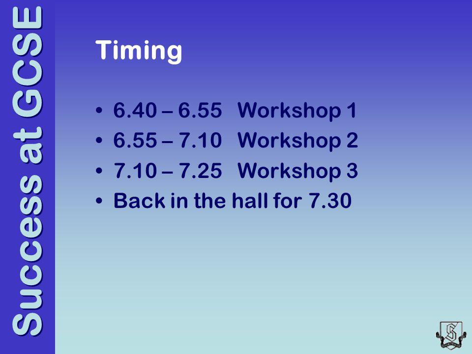 Success at GCSE Timing 6.40 – 6.55 Workshop 1 6.55 – 7.10 Workshop 2 7.10 – 7.25 Workshop 3 Back in the hall for 7.30