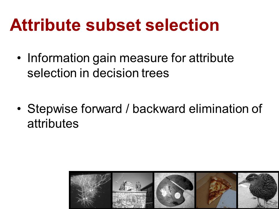 Attribute subset selection Information gain measure for attribute selection in decision trees Stepwise forward / backward elimination of attributes