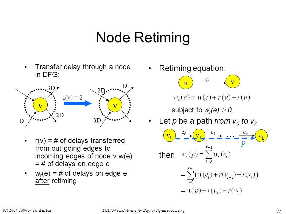 11 ECE734 VLSI Arrays for Digital Signal Processing (C) 2004-2006 by Yu Hen Hu Node Retiming Transfer delay through a node in DFG: r(v) = # of delays