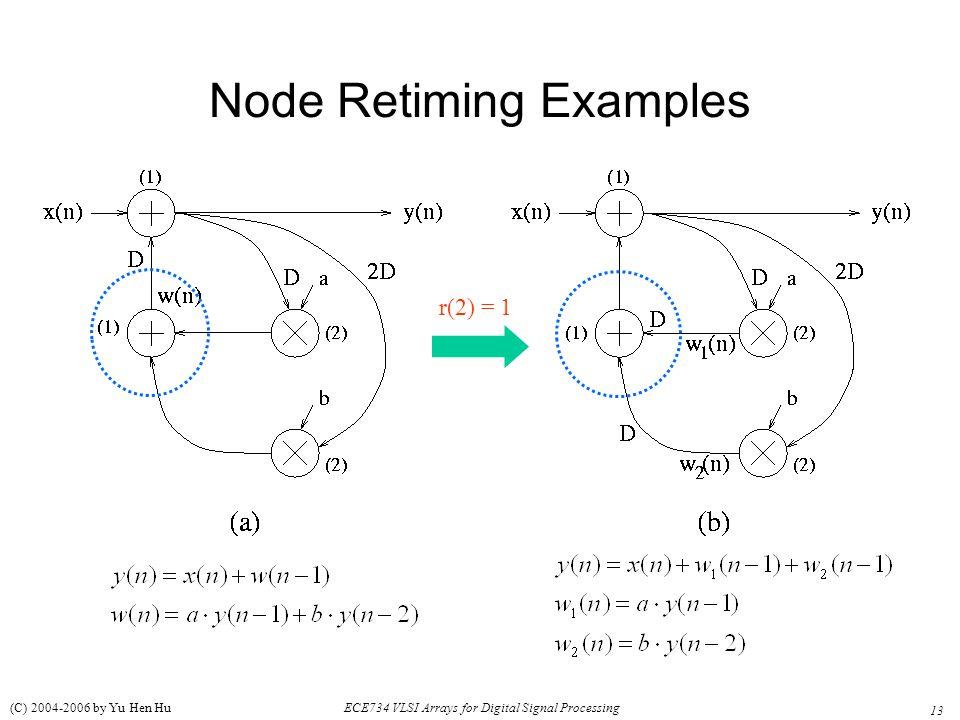 13 ECE734 VLSI Arrays for Digital Signal Processing (C) 2004-2006 by Yu Hen Hu Node Retiming Examples r(2) = 1