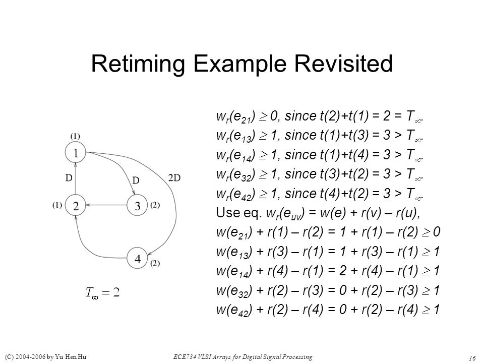 16 ECE734 VLSI Arrays for Digital Signal Processing (C) 2004-2006 by Yu Hen Hu Retiming Example Revisited w r (e 21 )  0, since t(2)+t(1) = 2 = T .