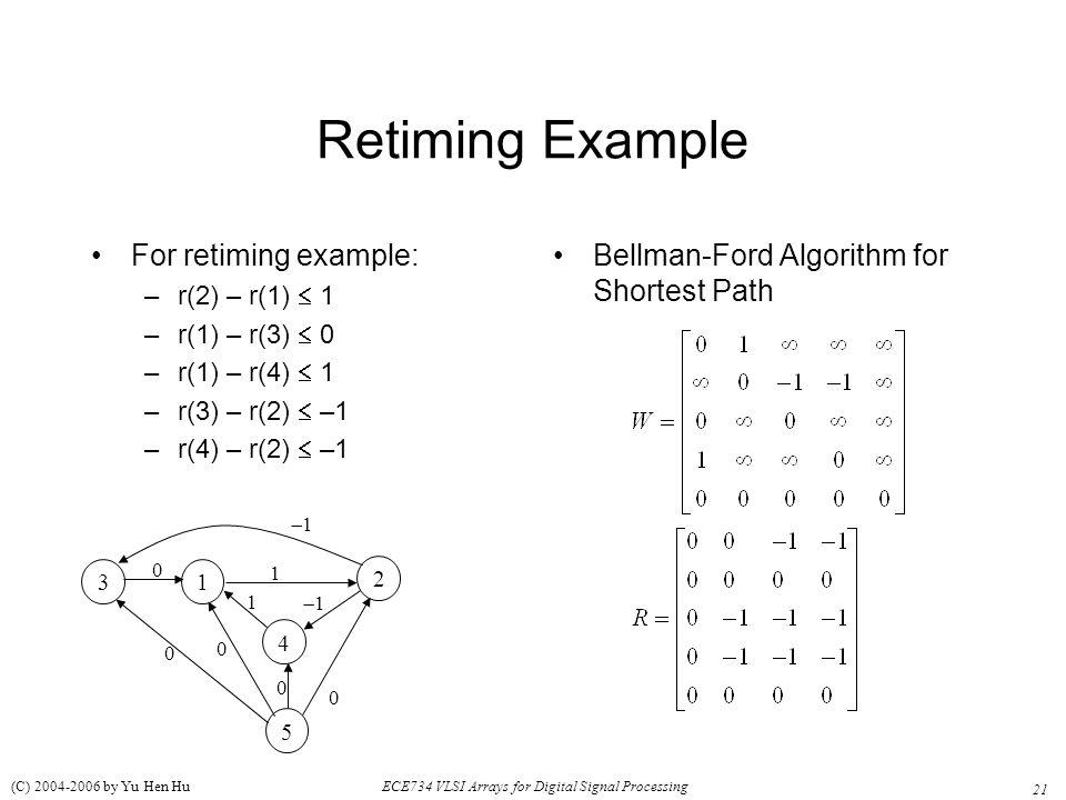 21 ECE734 VLSI Arrays for Digital Signal Processing (C) 2004-2006 by Yu Hen Hu Retiming Example For retiming example: –r(2) – r(1)  1 –r(1) – r(3) 