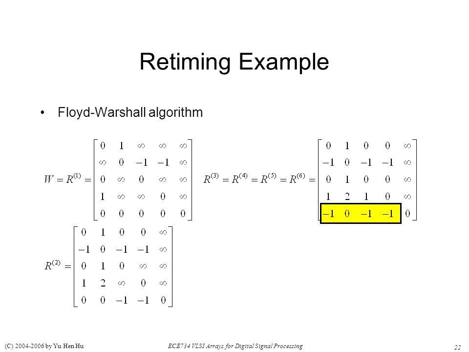 22 ECE734 VLSI Arrays for Digital Signal Processing (C) 2004-2006 by Yu Hen Hu Retiming Example Floyd-Warshall algorithm