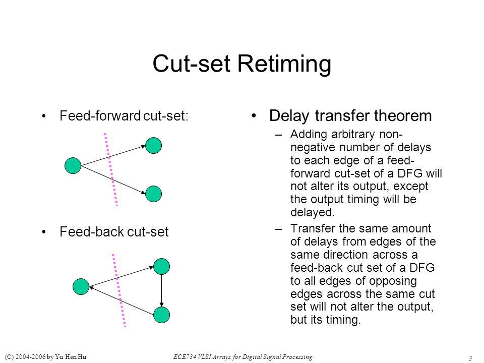 3 ECE734 VLSI Arrays for Digital Signal Processing (C) 2004-2006 by Yu Hen Hu Cut-set Retiming Feed-forward cut-set: Feed-back cut-set Delay transfer