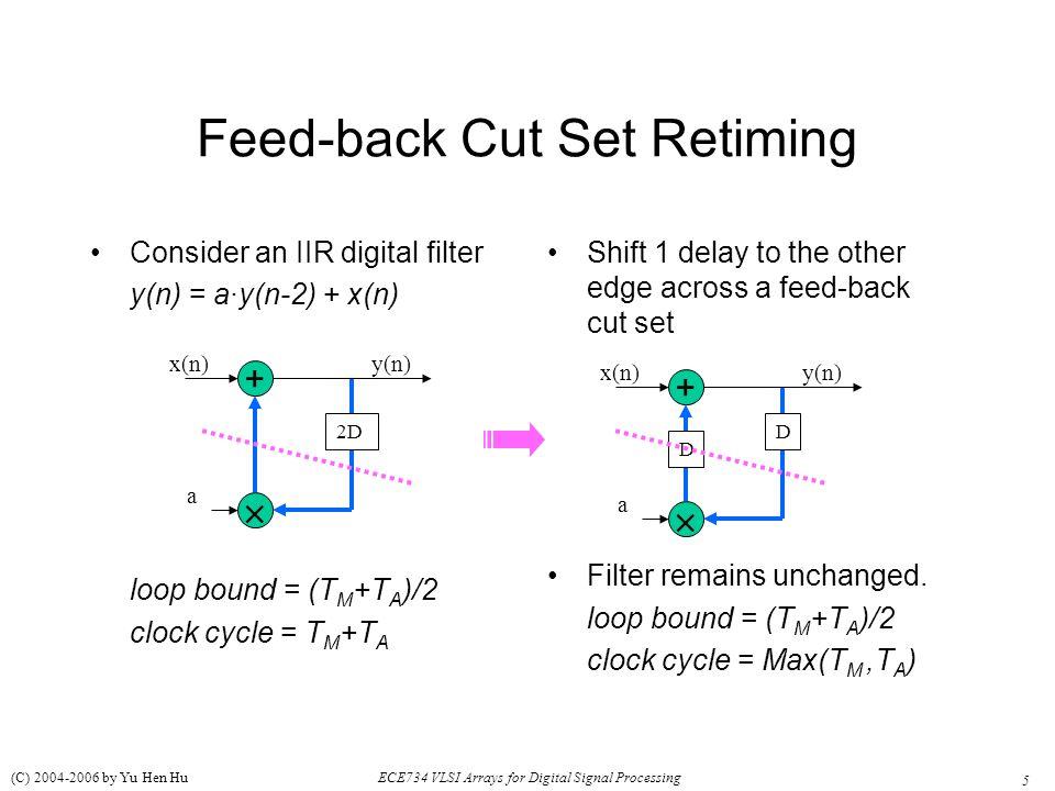 5 ECE734 VLSI Arrays for Digital Signal Processing (C) 2004-2006 by Yu Hen Hu Feed-back Cut Set Retiming Consider an IIR digital filter y(n) = a·y(n-2) + x(n) loop bound = (T M +T A )/2 clock cycle = T M +T A Shift 1 delay to the other edge across a feed-back cut set Filter remains unchanged.