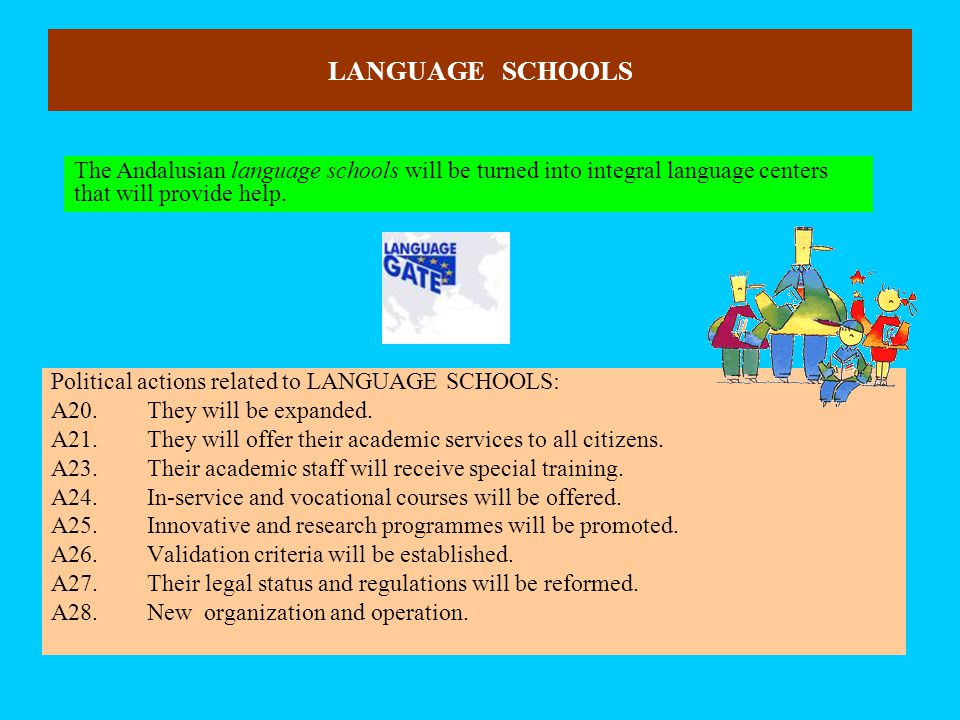 LANGUAGE SCHOOLS Political actions related to LANGUAGE SCHOOLS: A20.