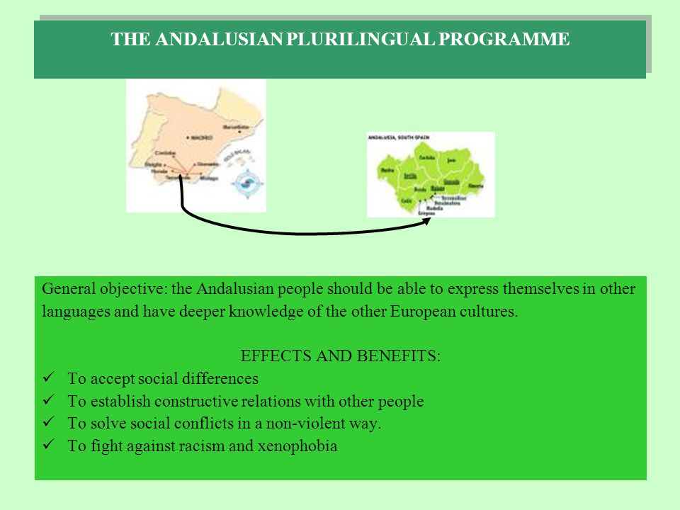 THE ANDALUSIAN PLURILINGUAL PROGRAMME General objective: the Andalusian people should be able to express themselves in other languages and have deeper knowledge of the other European cultures.