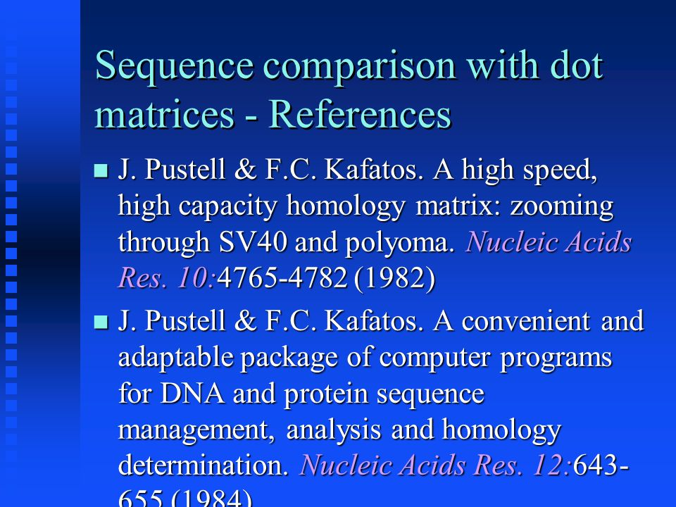 Sequence comparison with dot matrices - References J.