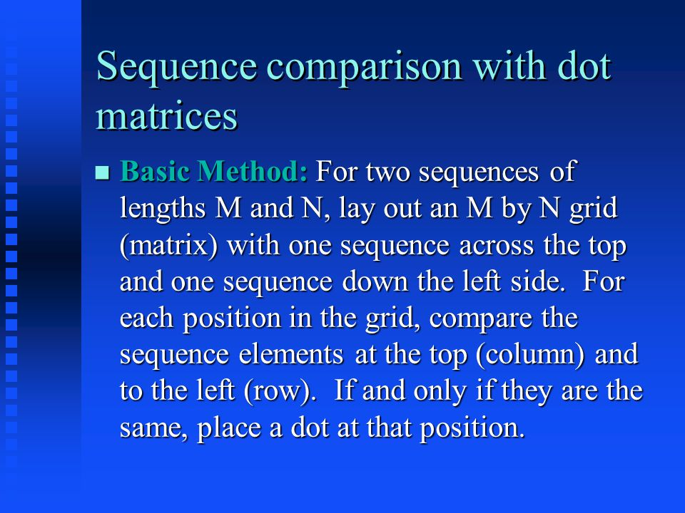 Sequence comparison with dot matrices - References W.M.