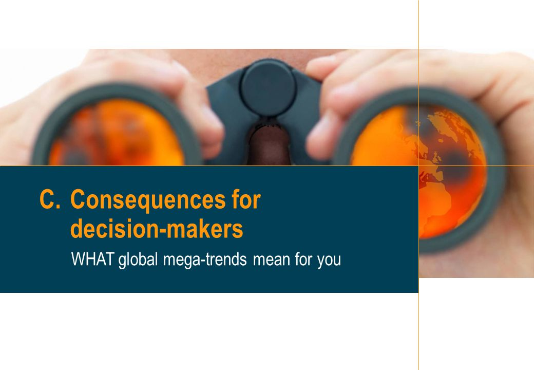 22 C.Consequences for decision-makers WHAT global mega-trends mean for you