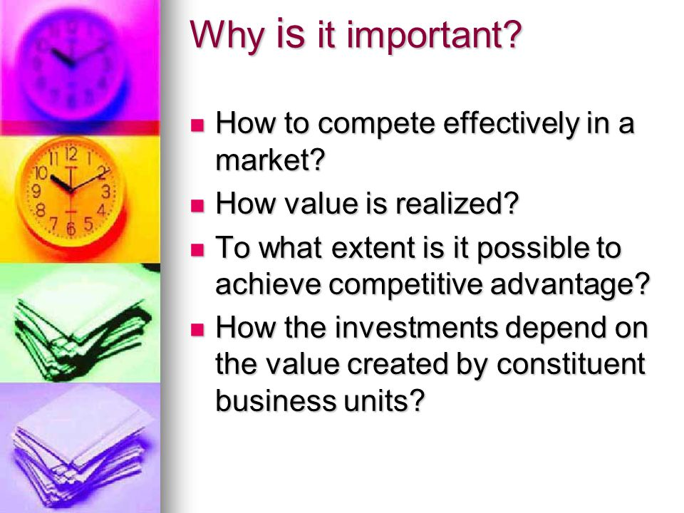 Why is it important. How to compete effectively in a market.