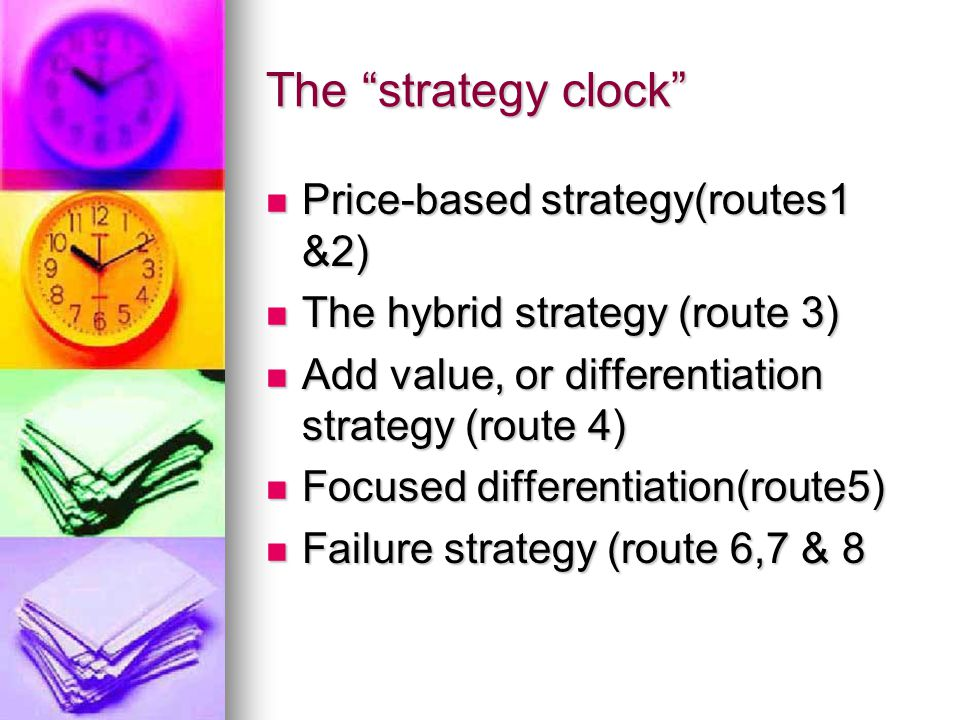 The strategy clock Price-based strategy(routes1 &2) Price-based strategy(routes1 &2) The hybrid strategy (route 3) The hybrid strategy (route 3) Add value, or differentiation strategy (route 4) Add value, or differentiation strategy (route 4) Focused differentiation(route5) Focused differentiation(route5) Failure strategy (route 6,7 & 8 Failure strategy (route 6,7 & 8