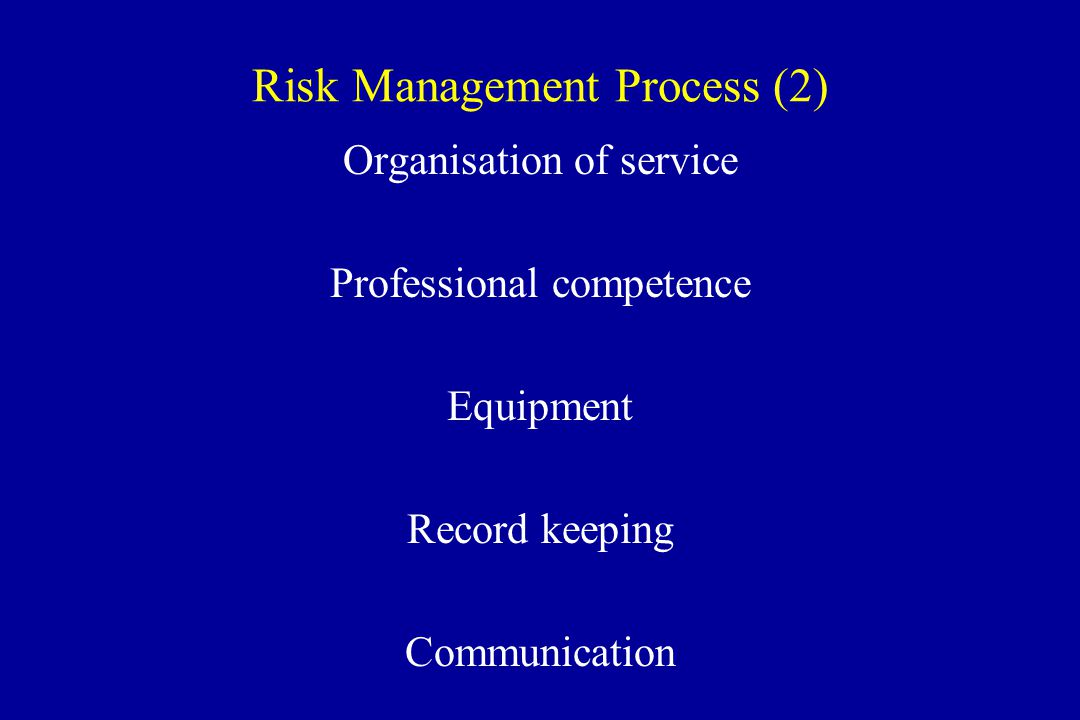 Risk Management Process (2) Organisation of service Professional competence Equipment Record keeping Communication