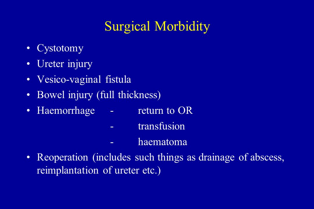Surgical Morbidity Cystotomy Ureter injury Vesico-vaginal fistula Bowel injury (full thickness) Haemorrhage-return to OR -transfusion -haematoma Reoperation (includes such things as drainage of abscess, reimplantation of ureter etc.)