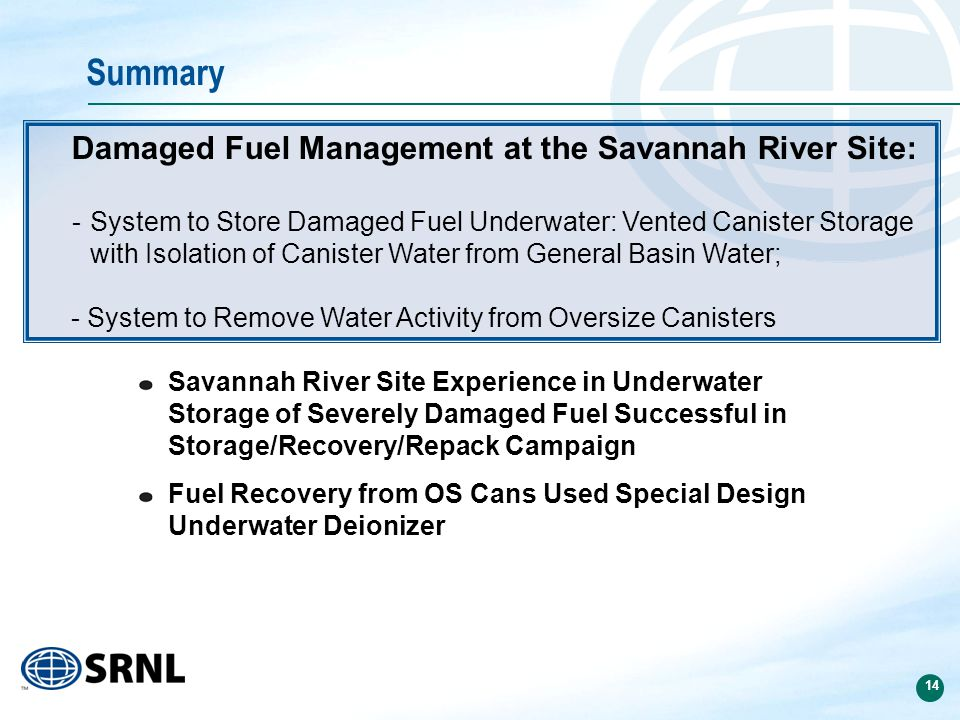 14 Summary Savannah River Site Experience in Underwater Storage of Severely Damaged Fuel Successful in Storage/Recovery/Repack Campaign Fuel Recovery from OS Cans Used Special Design Underwater Deionizer Damaged Fuel Management at the Savannah River Site: -System to Store Damaged Fuel Underwater: Vented Canister Storage with Isolation of Canister Water from General Basin Water; - System to Remove Water Activity from Oversize Canisters