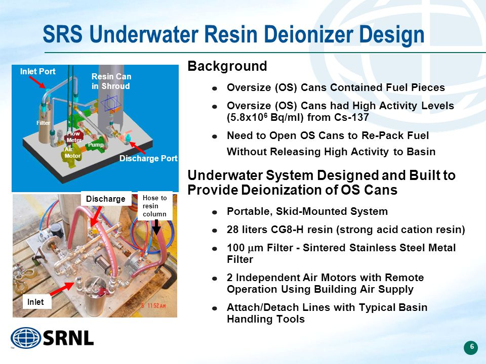 6 SRS Underwater Resin Deionizer Design Background Oversize (OS) Cans Contained Fuel Pieces Oversize (OS) Cans had High Activity Levels (5.8x10 6 Bq/ml) from Cs-137 Need to Open OS Cans to Re-Pack Fuel Without Releasing High Activity to Basin Underwater System Designed and Built to Provide Deionization of OS Cans Portable, Skid-Mounted System 28 liters CG8-H resin (strong acid cation resin) 100  m Filter - Sintered Stainless Steel Metal Filter 2 Independent Air Motors with Remote Operation Using Building Air Supply Attach/Detach Lines with Typical Basin Handling Tools Resin Can in Shroud Filter Air Motor Pump Flow Meter Discharge Port Inlet Port Hose to resin column Discharge Inlet