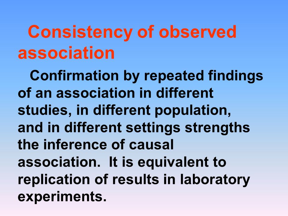 Consistency of observed association Confirmation by repeated findings of an association in different studies, in different population, and in differen