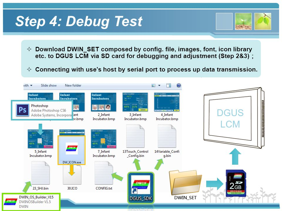 www.dwin.com.cn  Download DWIN_SET composed by config. file, images, font, icon library etc. to DGUS LCM via SD card for debugging and adjustment (St