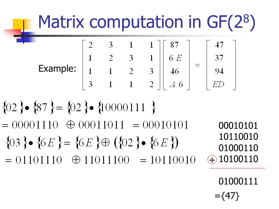 Matrix computation in GF(2 8 ) Example: 00010101 10110010 01000110 10100110 01000111 ={47} +
