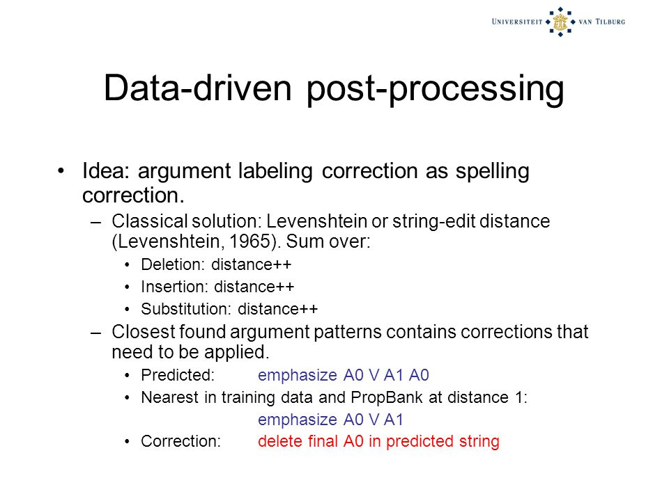 Data-driven post-processing Idea: argument labeling correction as spelling correction.