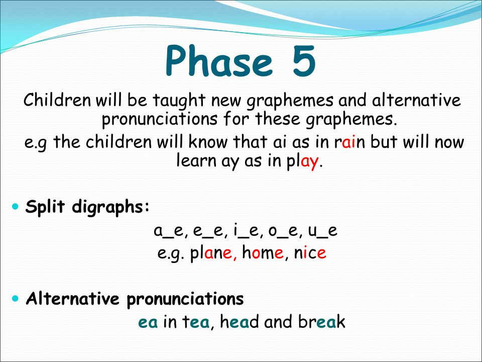 In Phase 4, no new graphemes are introduced. The main aim of this phase is to consolidate the children's knowledge and to help them learn to read and