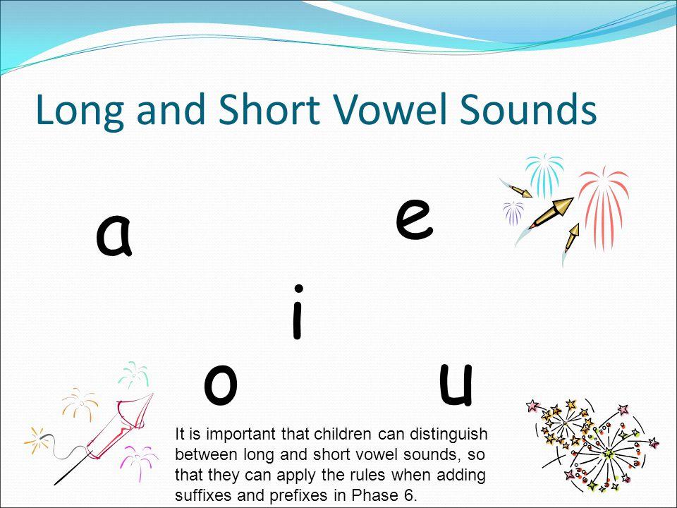 Long and Short Vowel Sounds a e i o u