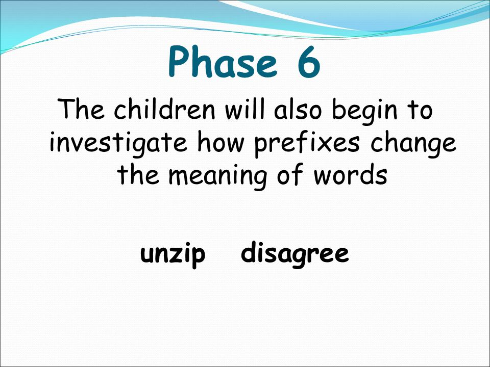 Phase 6 The children will investigate the rules for suffixes -s -es -ing -ed -er -est -y -en -ful -ly -ment -ness