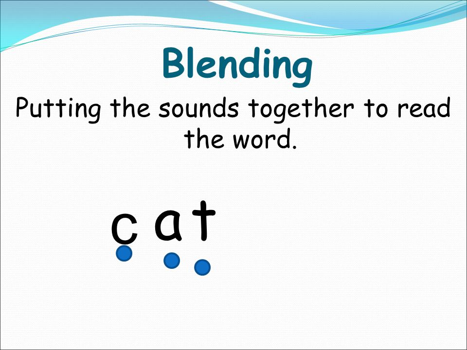 Segmenting Pulling the word apart – sounding out. cat