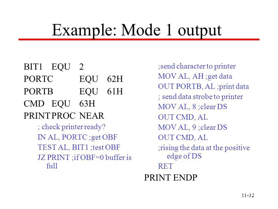 11-32 BIT1EQU2 PORTCEQU62H PORTBEQU61H CMDEQU63H PRINTPROCNEAR ; check printer ready.