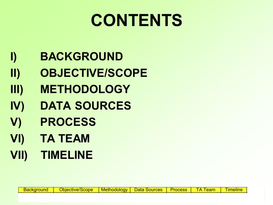 CONTENTS I) BACKGROUND II) OBJECTIVE/SCOPE III) METHODOLOGY IV) DATA SOURCES V) PROCESS VI) TA TEAM VII) TIMELINE