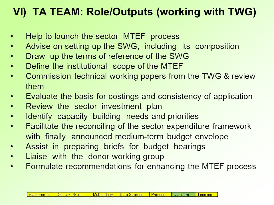VI) TA TEAM: Role/Outputs (working with TWG) Help to launch the sector MTEF process Advise on setting up the SWG, including its composition Draw up the terms of reference of the SWG Define the institutional scope of the MTEF Commission technical working papers from the TWG & review them Evaluate the basis for costings and consistency of application Review the sector investment plan Identify capacity building needs and priorities Facilitate the reconciling of the sector expenditure framework with finally announced medium-term budget envelope Assist in preparing briefs for budget hearings Liaise with the donor working group Formulate recommendations for enhancing the MTEF process