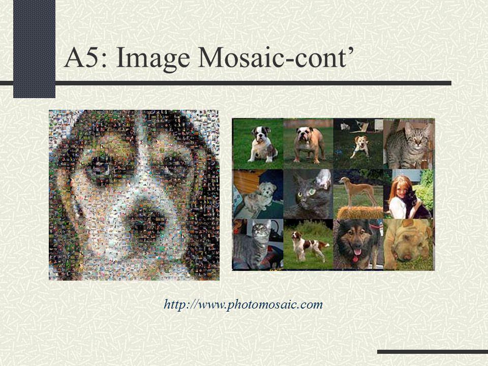 A5: Image Mosaic-cont' http://www.photomosaic.com