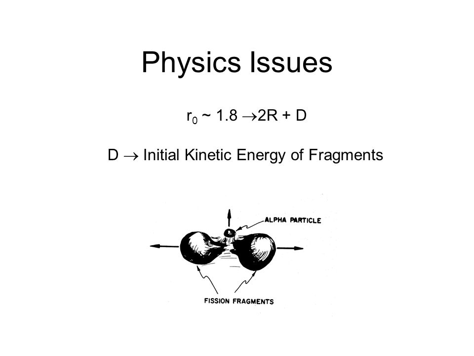 Physics Issues r 0 ~ 1.8  2R + D D  Initial Kinetic Energy of Fragments