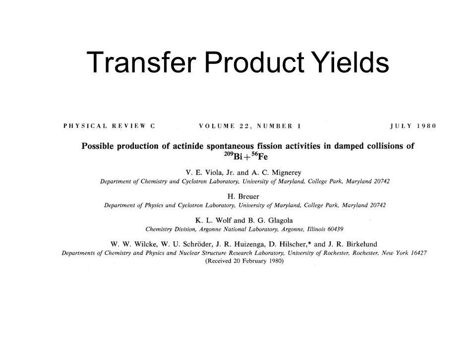 Transfer Product Yields