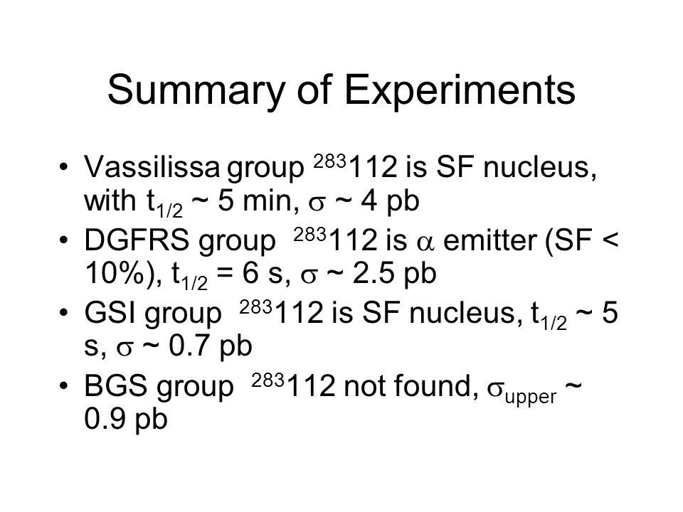 Summary of Experiments Vassilissa group 283 112 is SF nucleus, with t 1/2 ~ 5 min,  ~ 4 pb DGFRS group 283 112 is  emitter (SF < 10%), t 1/2 = 6 s,  ~ 2.5 pb GSI group 283 112 is SF nucleus, t 1/2 ~ 5 s,  ~ 0.7 pb BGS group 283 112 not found,  upper ~ 0.9 pb