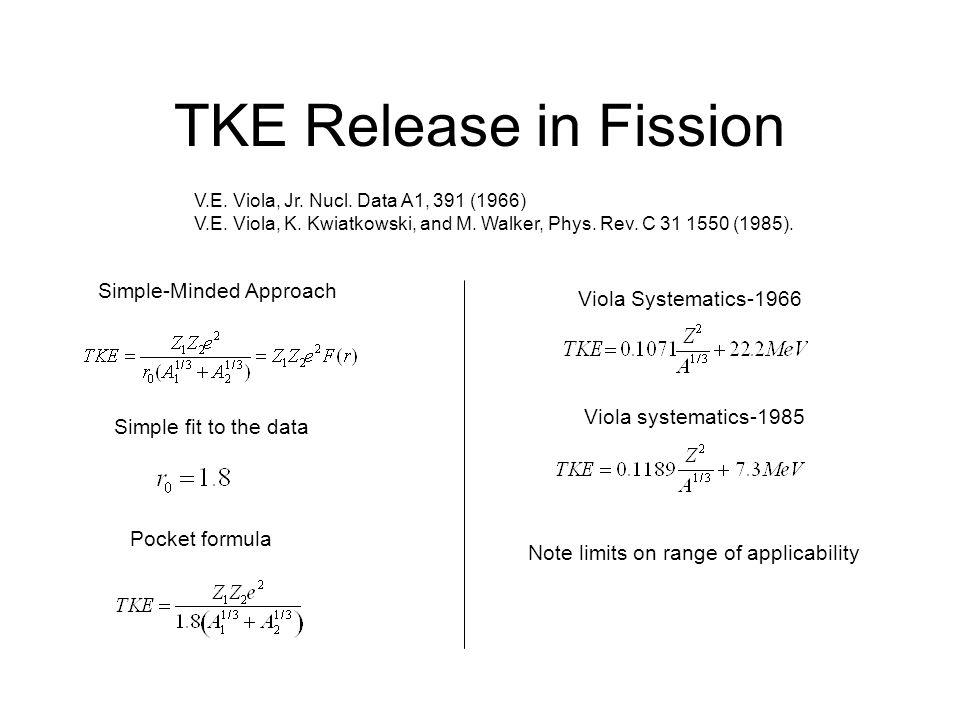 TKE Release in Fission V.E.Viola, Jr. Nucl. Data A1, 391 (1966) V.E.