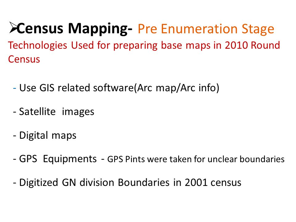 Modes of Data Dissemination Printing : Departmental Publications Electronic Media (CD ROMs and DVDs) Census Info/ Dev info Internet : Web site  Static web pages (html, PDF, excel)  Interactive online tools (tabulating/graphing/mapping tools, etc) Census Info Geographic information systems (GIS)
