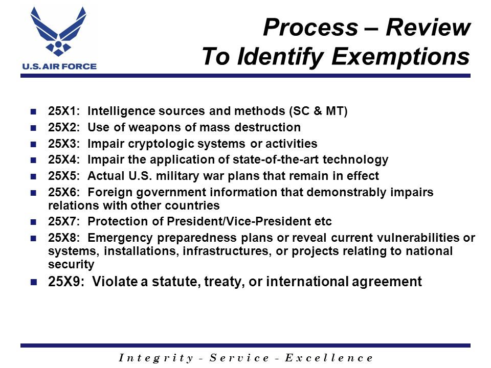 Process – Review To Identify Exemptions 25X1: Intelligence sources and methods (SC & MT) 25X2: Use of weapons of mass destruction 25X3: Impair cryptologic systems or activities 25X4: Impair the application of state-of-the-art technology 25X5: Actual U.S.