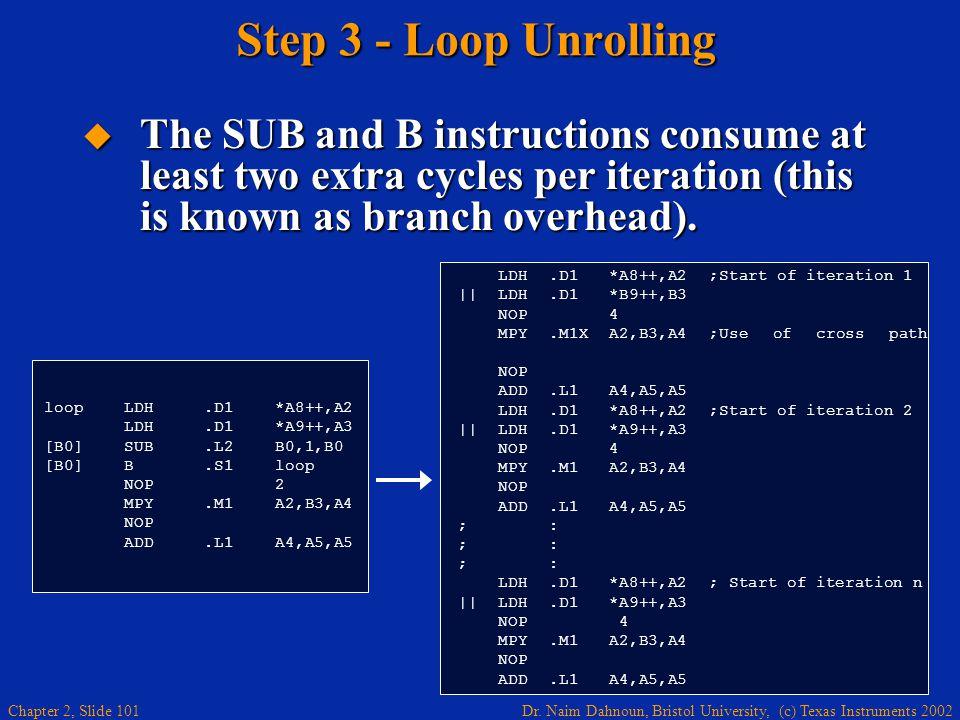 Dr. Naim Dahnoun, Bristol University, (c) Texas Instruments 2002 Chapter 2, Slide 101 Step 3 - Loop Unrolling  The SUB and B instructions consume at